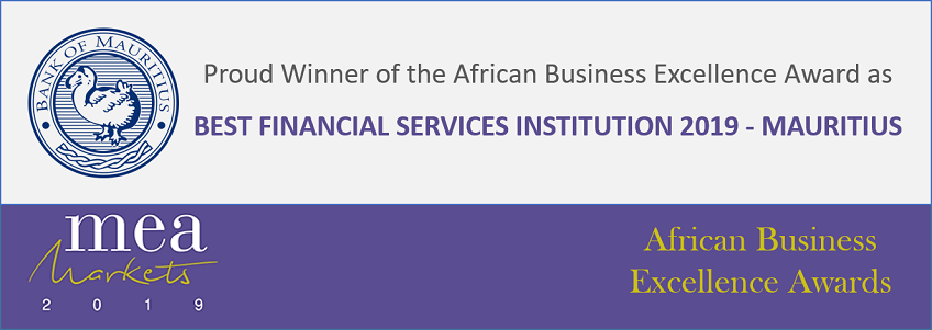 Bank of Mauritius wins MEA Markets African Business Excellence Award as Best Financial Services Institution 2019 - Mauritius
