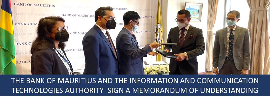 The Bank of Mauritius and the Information and Communication Technologies Authority sign a Memorandum of Understanding